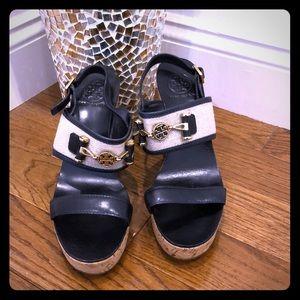 Tory Burch leather cork wedge platform sandals 9